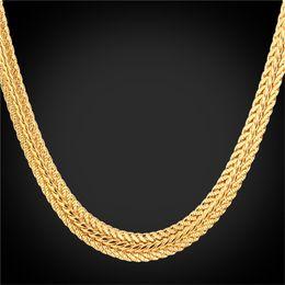 Wholesale Trendy Necklaces For Men - Wholesale-Gold Foxtail Necklace 18K' Stamp Platinum 18K Real Gold Plated Rose Gold Trendy 46CM  55CM 66CM Gold Chain Necklace For Men N942