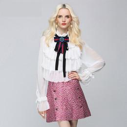 Wholesale elegant ruffled blouses - Brand Designer Women Chiffon Blouse 2018 Spring Summer Office Lady Rhinestone Beaded Bowknot Elegant Ruffled Shirts Party Flounced Tops