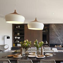 Wholesale E27 Light Socket Cord - Modern pendant light Oak Wood lamp E27 socket wood lampholder Hanging light white black Optionally 300mm   350mm