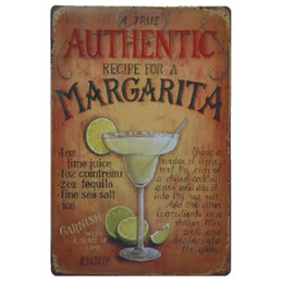 Wholesale Vodka Signs - Authentic Recipe for a Margarita Vodka Juice Retro rustic tin metal sign Wall Decor Vintage Tin Poster Cafe Shop Bar home decor