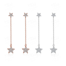 Wholesale Hanging Gold Star - Dangle Earrings for Women New Romantic Long Hanging Star Inlaid Cubic Zirconia Rose Gold Platinum Plated Chain Earrings