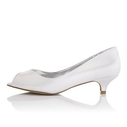 Wholesale Dyeable Satin - Nice Little Heel Plain Upper Dyeable Satin Wedding Dress Shoe Bridal Shoes Wedding Dress Shoes Handmade Shoes for Wedding From Size35-41