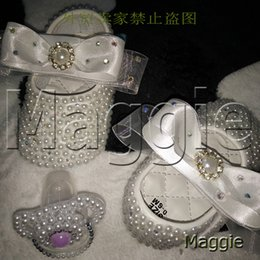 Wholesale Toddler Crystals Shoes - Wholesale- free shipping ribbon rhinestone baby Shoes pacifier handmade pearls baby toddler bling lovely fashion crystal child girl shoes