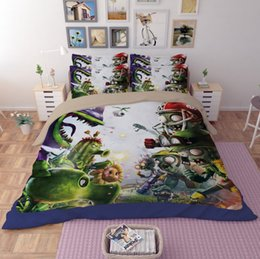 Wholesale Pictures Machine - Duvet Covert Plants vs. Zombies Game Picture Digital Printing Home Textiles Personality Twin King Size 3D Polyester Bedding Sets Fade 4Pcs