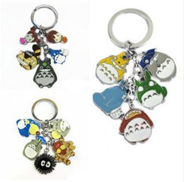 Wholesale Totoro Keychain Metal - My Neighbor Totoro Color Figures Pendants Metal Keychain Key Ring with 5 small Charms Wholesale 10 set lot