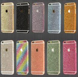 Filme bling on-line-Bling shinny adesivo de pele de corpo inteiro brilho diamante frente lados protetor de tela de volta film para iphone 6 6s plus