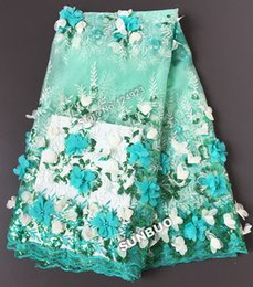 Wholesale Bridal Sequin Fabric - Water green Original applied Swiss tulle lace bridal African french lace fabric with shine Appliques beads sequins 5 yards 4202