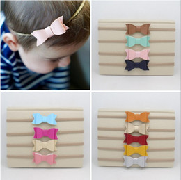 Wholesale Nylon Knots - INS Great Elasticity Artificial Leather Bow Nylon Headband Synthetic Leather Bow Knot Baby Elastic Head Band Pink Mustard Toddler Band