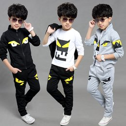 Wholesale Track Suit Casual Shirts - Boys 3 Pcs Tracking Suits 2017 Spring Autumn Little Monster Cartoon Hooded Jackets + T-Shirts + Pocket Trousers Sets Baby Cotton Clothes