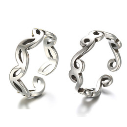 Wholesale Female Symbol Jewelry - Vintage Style Thai Silver Curve Symbol Design Ring Opening Adjustable 925 Sterling Silver Jewelry Rings For Male And Female