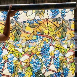Wholesale Stain Glass Window Film - American rural countryside grape glass film window sticker Stained glass window grilles paper stickers new 2016 European and American