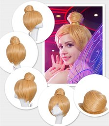 Wholesale Cheap Short Blonde Wigs - 30CM short Blonde Cosplay Wig Fairy Tinker Bell Full hair Wig synthetic wigs anime Princess Tinkerbell Adult Size cheap wigs