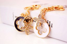 Wholesale Charming Heart Key Chain - novelty items beads key chain heart keychains tassel four leaf clover flower car key rings womna bag charms drop shipping 2219
