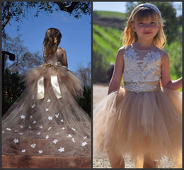 Wholesale Short Lace Wedding Dres - 2017 Hot sale Champagne Flower Girl Dres Tulle Ball Gown With Sash Handmade Butterfly Jewel High Quality First Communion Dresses