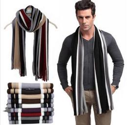 Wholesale Male Cashmere Scarf - Winter designer scarf men striped cotton scarf female & male brand shawl wrap knit cashmere bufandas Striped scarf with tassels S663