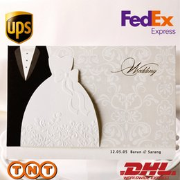 Wholesale Customizable Invitations - Wholesale- 12 pcs HOT western-style Groom & Bride Clothes Customizable Wedding Invitations Cards,BH2046