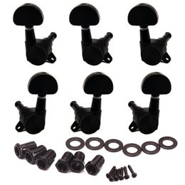 Wholesale Guitar 3r3l - Guitar Tuners Tuning Pegs Keys Machine Heads Trim Locking 3R3L with Big Oval Shape Tips Black Set of 6