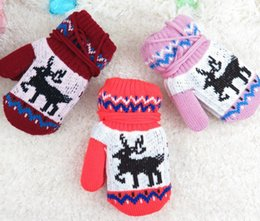 Wholesale Baby Girl Winter Mittens - 2017 Christmas Winter Mittens Kids Mittens Baby Gloves Boys Girls Knitted Mittens Glove Mittens Children Mittens Crochet Gloves Warm Mittens