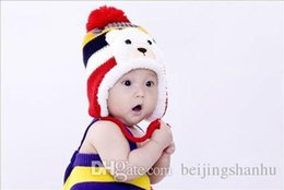 Wholesale Wholesale Cotton Ties For Boys - Winter Animal Hats For Children Kids Aviator Hat Cute Warm Cap Baby Earflaps Velvet Thickening Crochet Knitted Boy Girl Beanies