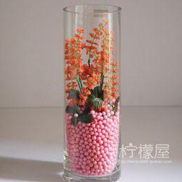 Wholesale Wedding Glass Vase Set - The living room floor water glass vase flower flowers grass pollen color decoration simulation sets special offer