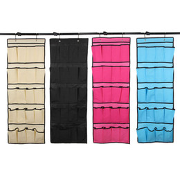 Wholesale Door Pockets - 20 Pockets Non Woven Hanging Storage Bag Door Holder Home Shoes Organizing Bag with Hooks Space Saver Organizer 33*50cm