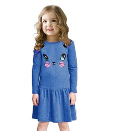 Wholesale Tee Shirt Dress Baby - 2016 Cotton Long Sleeved Tee Big Girl One Piece Dress Blouses Blue Cat Print Girls Dresses Jumpers Children Baby Girl T-Shirts Clothes TSG19