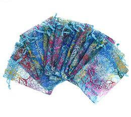 Sacs organza à motif en Ligne-100Pcs Coralline Motif Drawstring Sacs Organza Candy Bijoux Pochettes De Mariage Party Faveurs De Noël Sacs-cadeaux - Bleu, 3 Tailles
