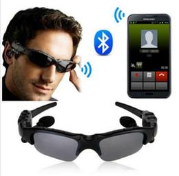 Wholesale Earphone Glasses - Sun Glasses Bluetooth Earphones Sunglasses 4.1 Stereo Wireless Handsfree Bluetooth Headphone For Cell Samsung Galaxy S7 S6 Ipad