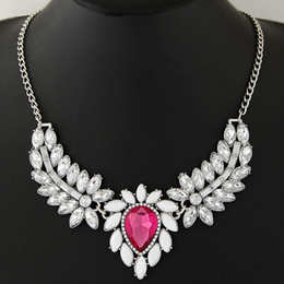 Wholesale Silver Blue Chokers - Wholesale European Fashion Jewelry Metal Chain Chokers Women Resin Stone Necklace Five Colors Pink Blue White