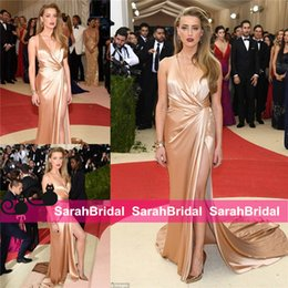 Wholesale Greek Style Evening Gowns - Amber Heard 2016 Met Gala Greek Goddess Style Look Celebrity Dresses with Sexy V-Neck Crisscross Back Silk 1920s Evening Party Gowns Wear