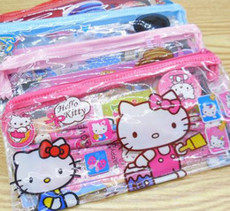 Wholesale Old Rulers - Kids Cartoon Pencil Bags Kitty Spiderman Mickey Cars Stationery Set Children Pencil Cases Ruler Sharpener Eraser Pencil Notebook For Gifts