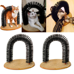 Wholesale Fleece Toys - Arch Pet Cat Self Groomer Brush Massager With Round Fleece Base Cat dog Toy Brush Pets Toys Purrfect Scratching Devices WX9-54