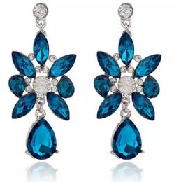 Wholesale Top Gemstone Earrings - TOP Quality Crystal Gemstone Pendant Earrings Women Bling Bling Blue Stone Stud Earrings 10PRS Women Fashion Jewelry Party Earrings
