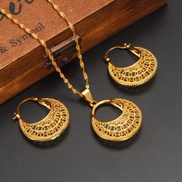 Wholesale Celtic Moon Pendant - Ethiopian 14k Yellow Solid Fine Gold GF FINISH set Jewelry Pendant Chain Earrings African Bride Wedding Moon Bijoux