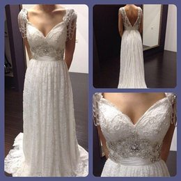 Wholesale Cheap Anna Campbell Dresses - Beading Anna Campbell Backless Wedding Dresses Cheap Beach Custom Made Wedding Dresses Capped Sleeves Vintage Wedding Dresses 2016 Lace