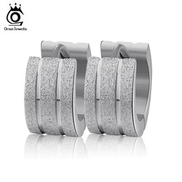Wholesale Width 7mm - 316L Stainless Steel Earrings with 7mm Width Frosting Surface Gold Silver Rose Gold For Ladies Woman GTE19