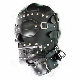 Wholesale Muzzle Bdsm - Quality Bondage Gear Leather Hoods Muzzles Fetish BDSM Slave Training Zipper Full Head Harness Mask New Stud Design B0306021