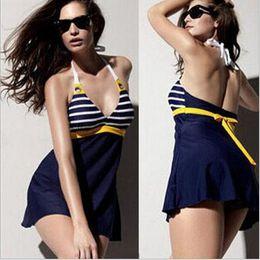 Wholesale Sexy Swimwear Big Women - Navy wind stripe big yards swimsuit fashion women sexy slim one-piece stripe skirt swimwear swimsuit bathing suit M-XXL