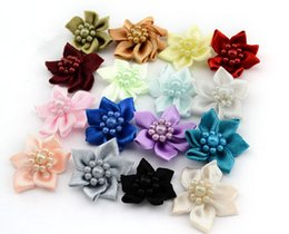 Wholesale Wholesale Fabric Flowers Trims - 100pcs lot Handmade DIY Clothes Accessories Docoratice Fabrics Crafts Pearl Ribbon Flowers Baby Girls Hair Accessories