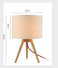 Wholesale Wood Base Led Light - Size DIA18CM*H42CM Tripod Triangle Wood Base Fabric Lampshade Table Lamps Desk Lights Indoor Lighting Fixtures for Bedroom Living Room