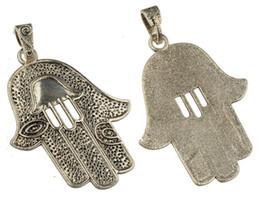 Wholesale Evil Eye Diy - diy large slider pendants for long necklaces hamsa evil eye Israel single flat charms antique silver metal jewelry findings 85*55mm 20pcs