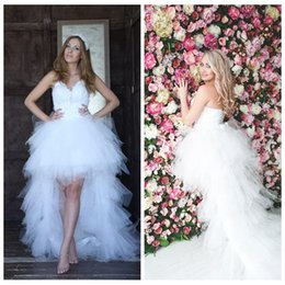 Wholesale Hi Low Feather Gown - Sweetheart Feather Top High Low Wedding Dresses Tulle Tiered Hi-Lo Bridal Gowns Summer Lace Up Back Beach Wedding Gowns 2016 Sexy