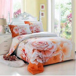 Wholesale Sunflower Print Duvet - 2016 new Yellow sunflower 3d bedding set queen size 100%cotton comforter set duvet cover bed sheet set bedclothes in a bag free shippiing