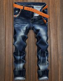 Wholesale Boys Clothes Size Jeans - Men Pants Fashion Street Boys Jeans Vintage Old Light Washed Denim Blue Jeans Mens Clothing