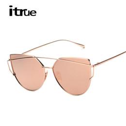 Wholesale Stylish Ladies Sunglasses - Wholesale-2016 Hot Cat Eye Mirror Sunglasses Women Fashion Brand Designer Stylish Flat Lens Metal Frame Ladies Sun glasses Female Points