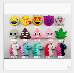 Wholesale Power Pvc - Mix Style Emoji Chargers 2600mah powerbank soft PVC unicorn poop devil horse skull power bank smart phone charger with box
