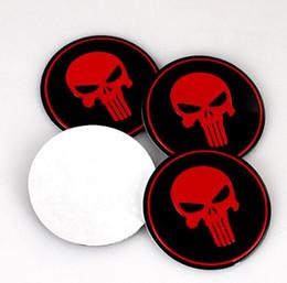 badge audi noir Promotion 4pcs voiture emblème centre moyeu de roue bouchon autocollant couverture autocollants pour badges emblèmes en aluminium autocollant pour crâne