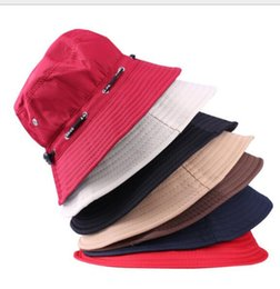 Wholesale English Caps - Scalable Rope Fishing Hats Summer Women And Men Foldable Outdoor English Sun Beach Flat Bucket Hat Basin Cap Fashion Accessories