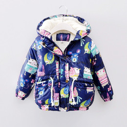 Wholesale Girls Toddlers Spring Jackets - 2017 New Winter Children Warm Coral Fleece Velvet Coat Hooded Girl Boy Cartoon Design Thicken Outwear Jackets Body Toddler Clothes Clothing