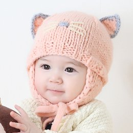 Wholesale Kids Knit Cat Beanie - Kids knit hats Beanies Lovely Carton cat ears Caps Hand-made Warm protection Maternity 2017 Winter Cotton beanies 6-18months wholesale
